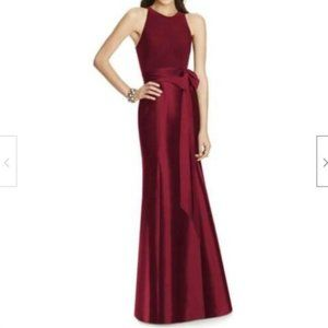 ALFRED SUNG Mikado Gown D737 Burgundy